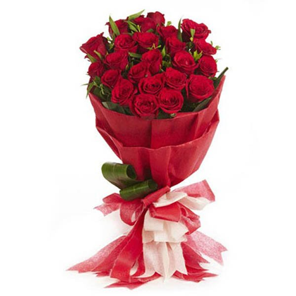20 Red roses wrapped with red paper and red & white ribbon