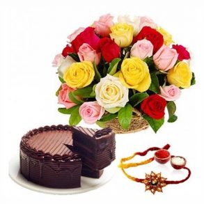 bunch of mixed coloured roses, and round shaped chocolate cake