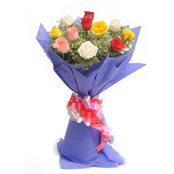 Mixed coloured roses and seasonal green leaves wrapped with purple paper and tied with red & white ribbons