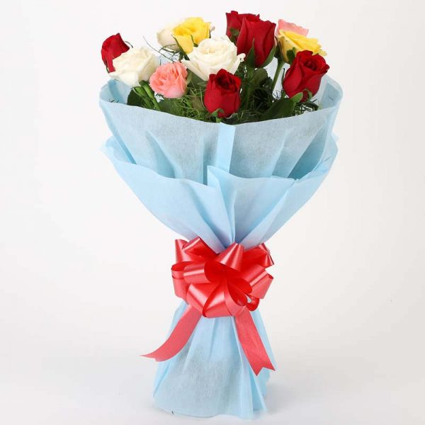 12 mixed colored roses with green leaves wrapped in sky blue paper and tied with red ribbon