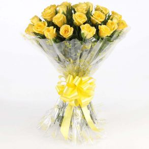 24 yellow roses wrapped in cellophane and tied with yellow ribbon