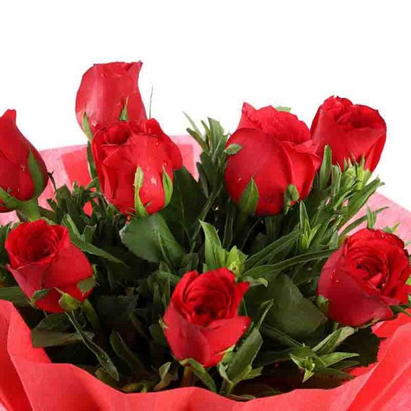 8 red roses with green leaves wrapped in red paper