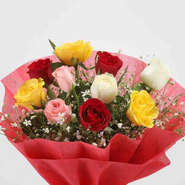 10 mixed colored roses with green leaves wrapped in red paper