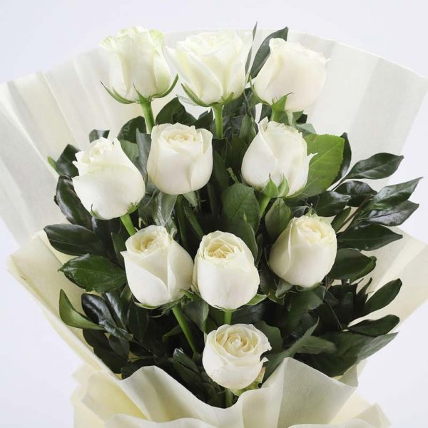 10 white roses with green leaves wrapped in white paper