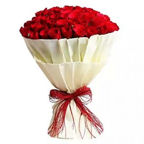 100 red roses wrapped in white paper and tied with red threads