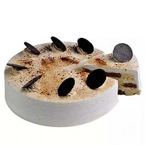 Round shaped chocolate vanilla cake decorated with powdered chocolate and chocolate coin