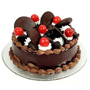 Designer round shaped chocolate cake decorated with red cherries and chocolate coins