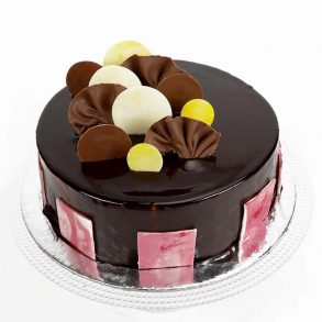 Round shaped chocolate truffle cake decorated with brown and whitr chocolate coins