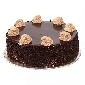 Round shaped chocolate cake decorated with chocolate creame on top