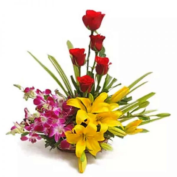 5 red roses, 4 orchids and 3 yellow lilies decorated with green leaves in a basket