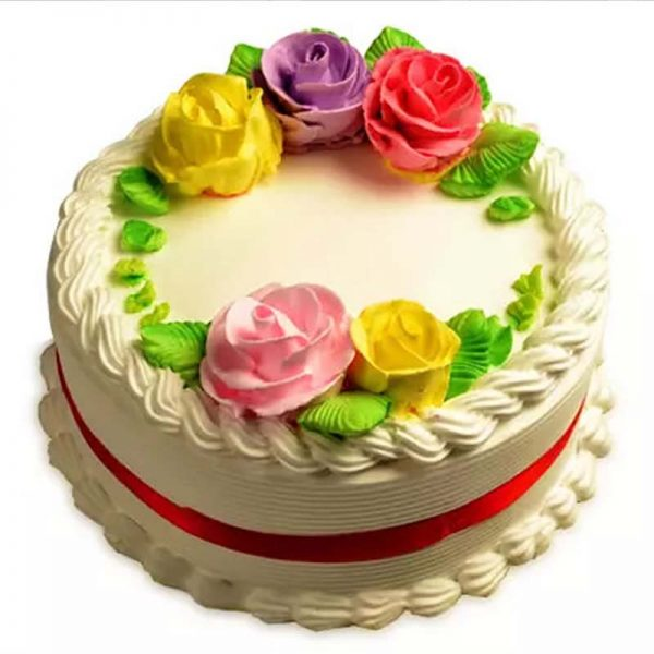 Round shaped vanilla cake decorated with colorful roses design