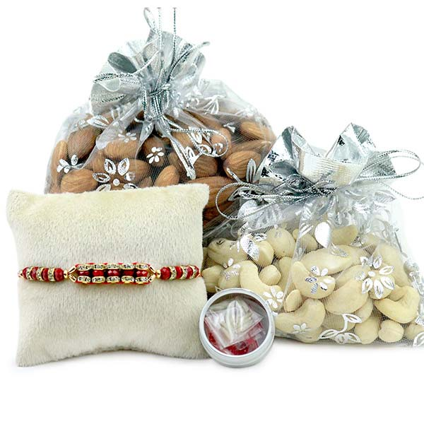 Rakhi and dry fruits in potli bags