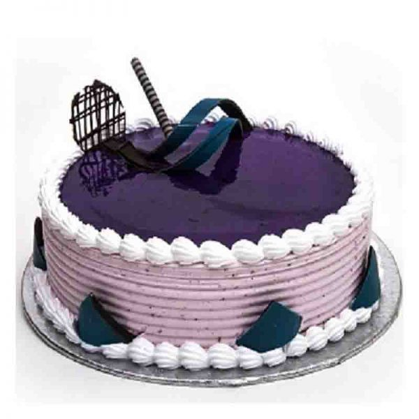 Round shaped dark blueberry cake