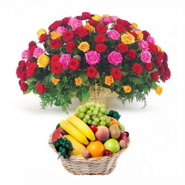 Basket of colourful roses, and fruit basket