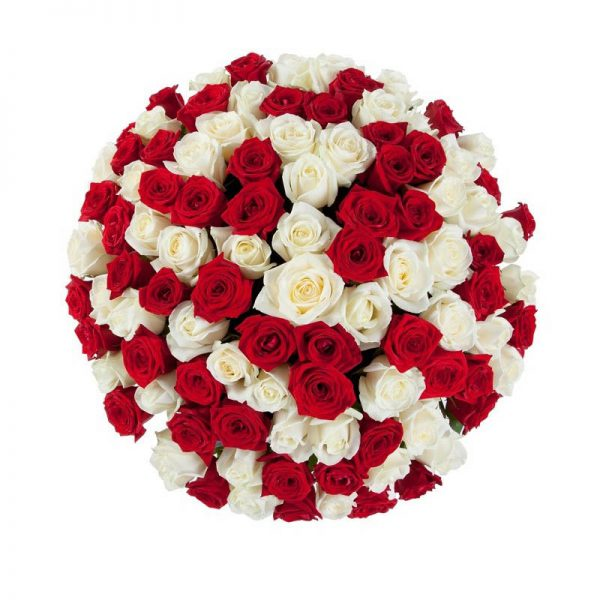 Round shaped flower arrangement of red and white roses