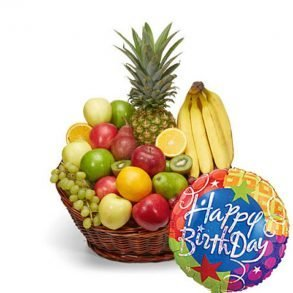 Fruit basket with happy birthday balloon