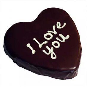 "Heart shaped chocolate cake syas ""I Love You"" on top"
