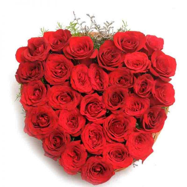 30 red roses arranges in heart shaped in a basket
