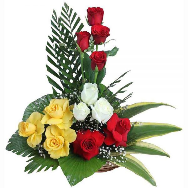 Basket ok Red, Yellow and white roses with green leaves