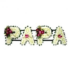 PAPA word flower arrangement with white daisies and purple orchids