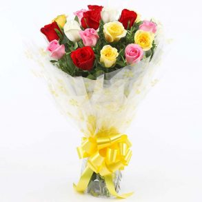 18 mixed colored roses wrapped in cellophane and tied with yellow ribbon