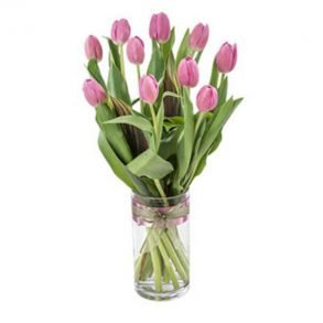 Pink Tulips in a Round Glass Vase