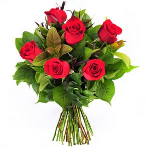Red roses and seasonal green leaves