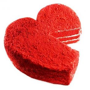 Heart shaped red velvet cake