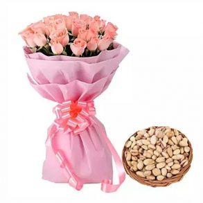 25 light pink roses wrapped in pink paper and tied with pink ribbon, and a basket of 250 grams pistachios