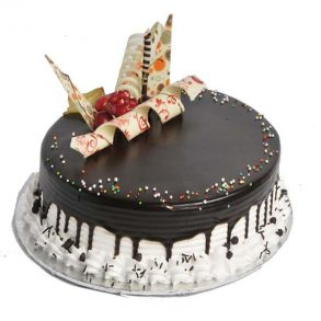 Round shaped special chocolate vanilla cake with chocolates on top