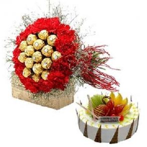 Red carnation and ferrero rocher bouquet with round shaped fruit cake