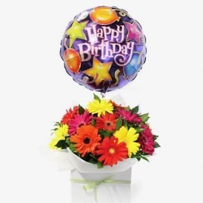 Mixed coloured gerberas with happy birthday balloon