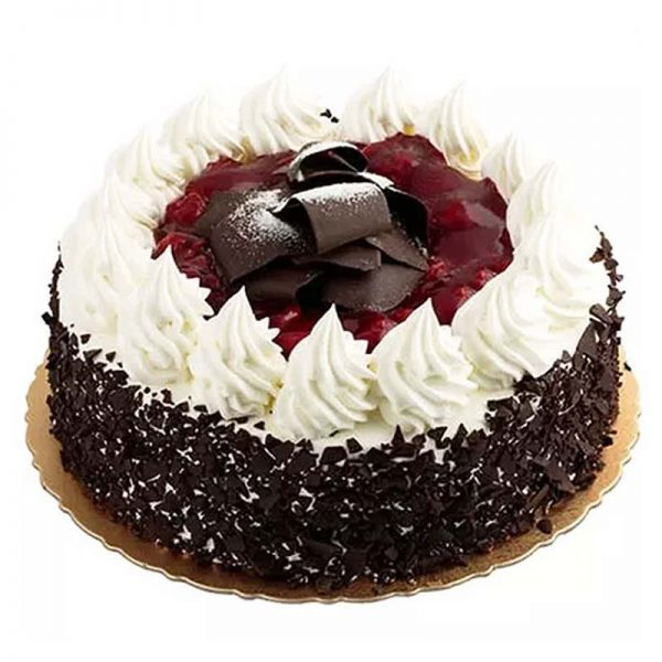 Round shaped black forest cake decorated with white cream and chocolate crust on its top