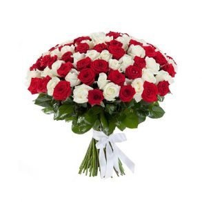 Red and white roses tied with white ribbon