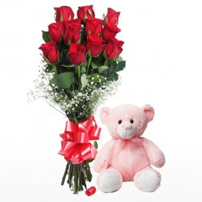 Long stem red roses tied with red ribbon and pink teddy