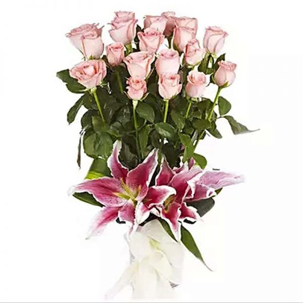 20 light pink long stem roses with 2 pink lilies wrapped with white paper