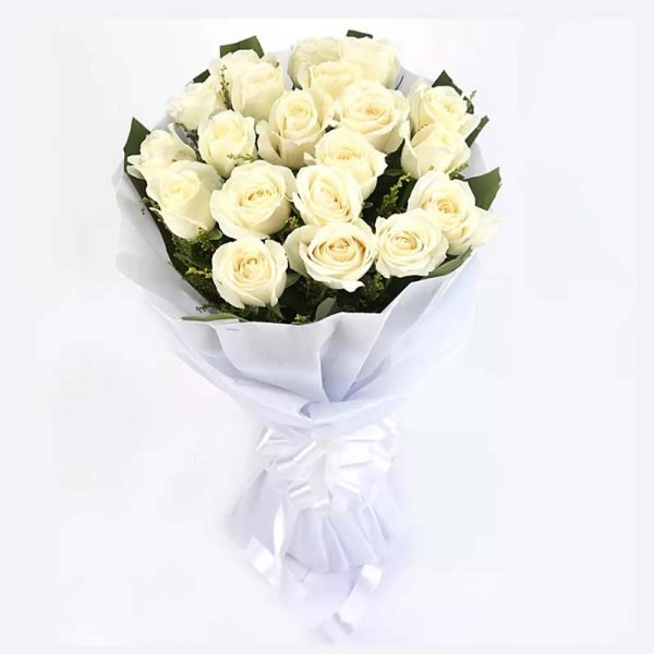 20 white roses wrapped in white paper and tied with white ribbon