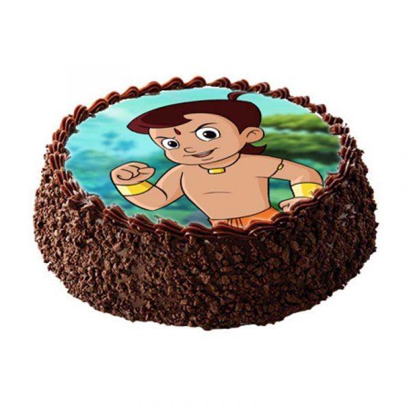 Round shaped chocolate truffle photo cake