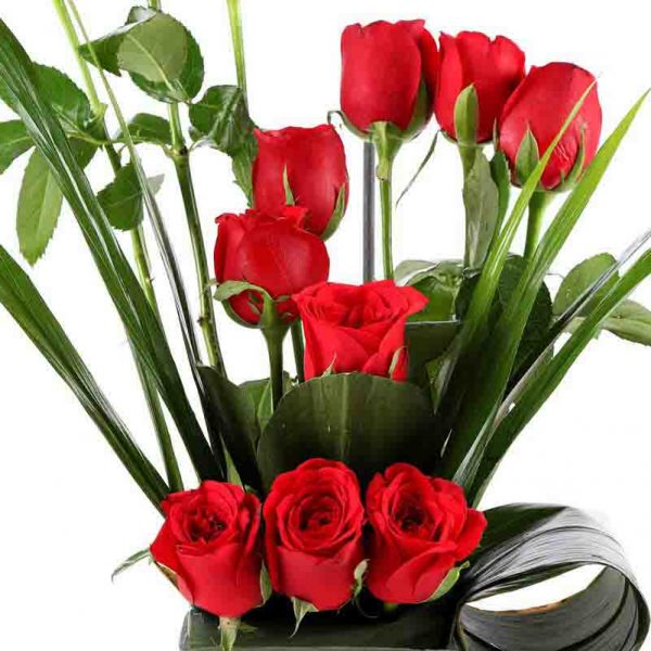 12 red roses decorated with green leaves