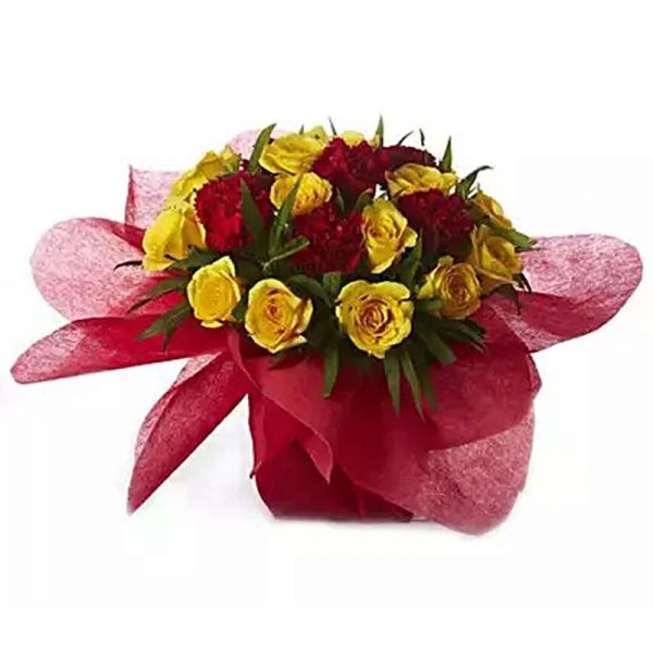 12 yellow roses and 6 red carnation with green leaves wrapped in red paper