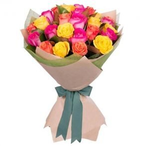 Mixed coloured roses wrapped with brown paper and tied with green ribbon