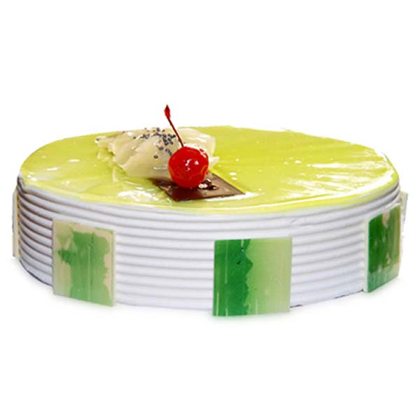 Round shaped kiwi cake decorated with kiwi slices and red cherry